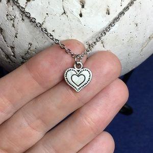 "❤️ Heart Necklace Tibetan Silver Pendant 18"" ❤️"